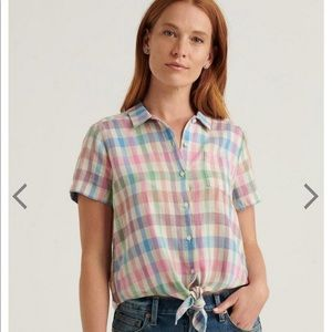 Lucky Brand crop tie plaid top